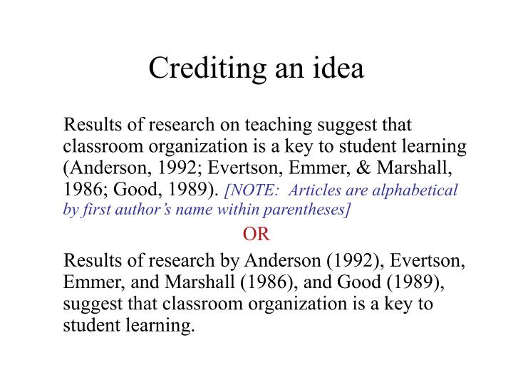 Crediting an idea
