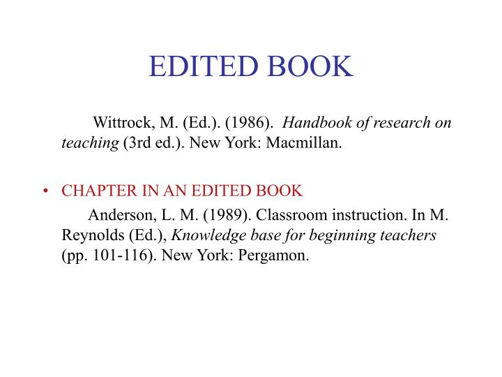 EDITED BOOK