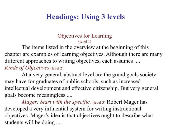 Headings: Using 3 levels