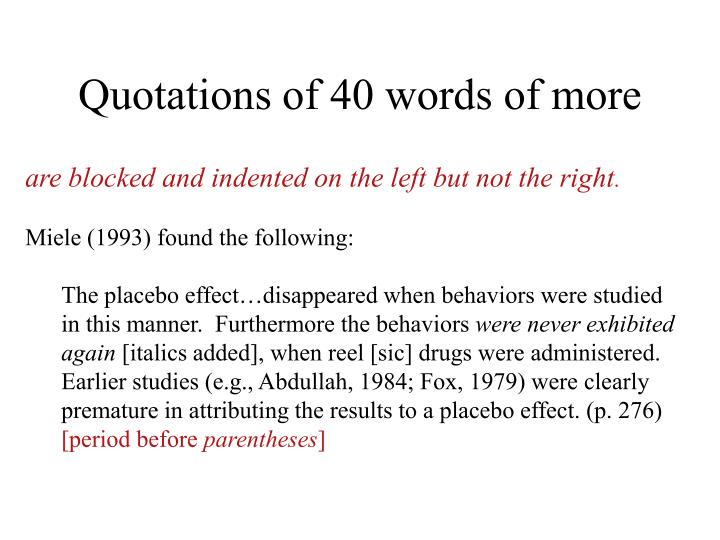 Quotations of 40 words of more