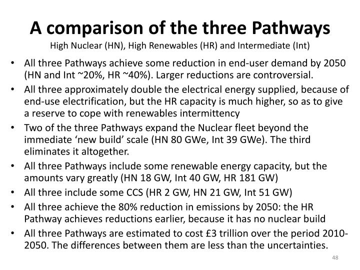 A comparison of the three Pathways