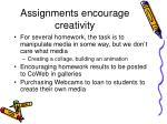 assignments encourage creativity
