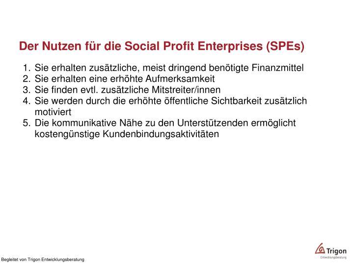 Der Nutzen für die Social Profit Enterprises (SPEs)