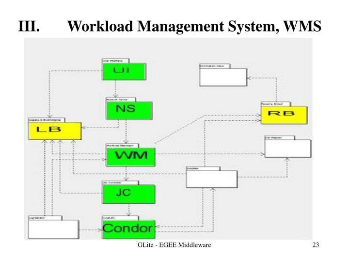 III.       Workload Management System, WMS