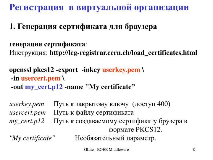 Регистрация  в виртуальной организации