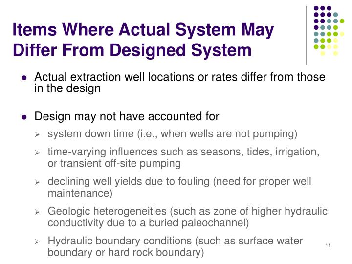Actual extraction well locations or rates differ from those in the design
