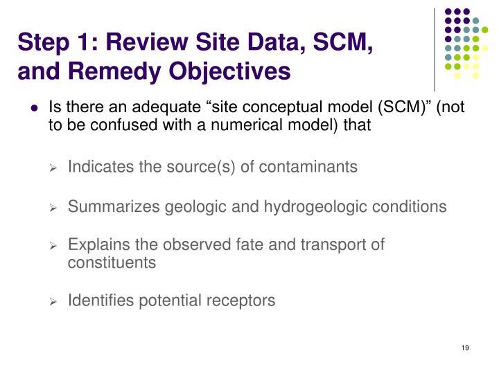 Step 1: Review Site Data, SCM,