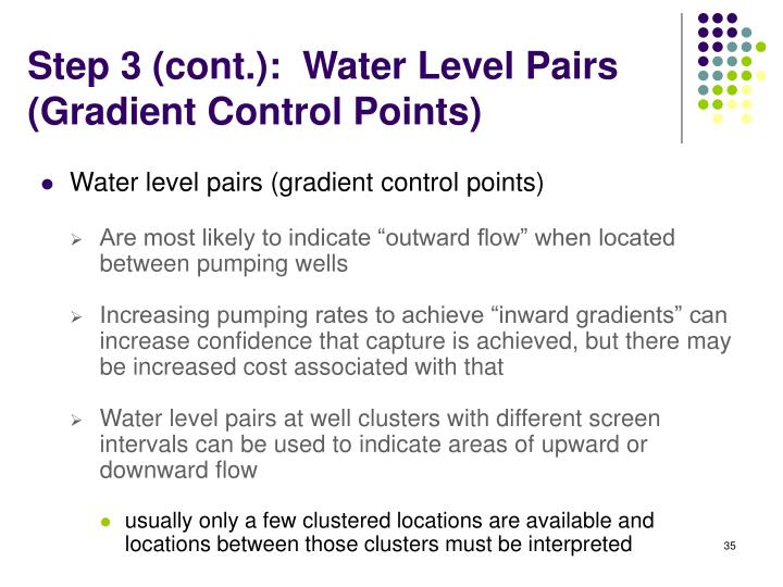 Step 3 (cont.):  Water Level Pairs
