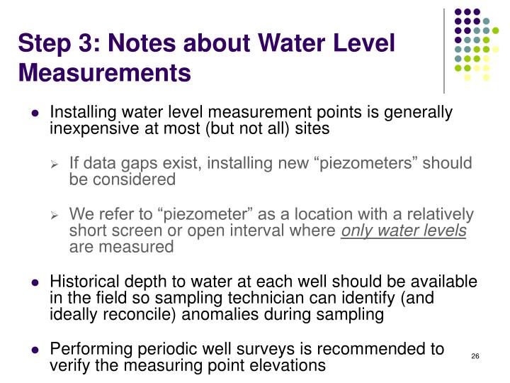 Step 3: Notes about Water Level Measurements