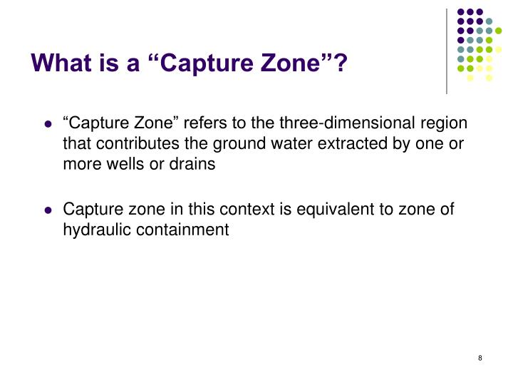 """""""Capture Zone"""" refers to the three-dimensional region that contributes the ground water extracted by one or more wells or drains"""