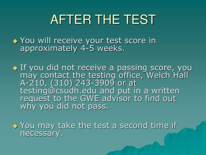 AFTER THE TEST
