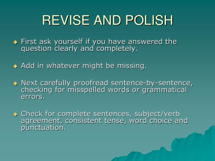 REVISE AND POLISH
