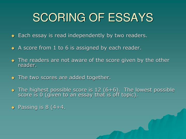 SCORING OF ESSAYS