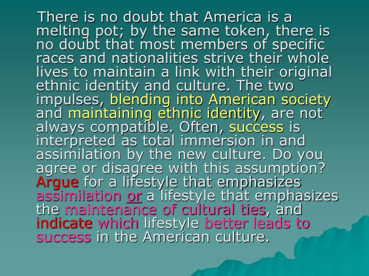 There is no doubt that America is a melting pot; by the same token, there is no doubt that most members of specific races and nationalities strive their whole lives to maintain a link with their original ethnic identity and culture. The two impulses,