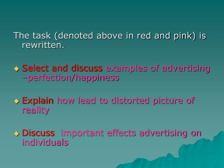 The task (denoted above in red and pink) is rewritten.