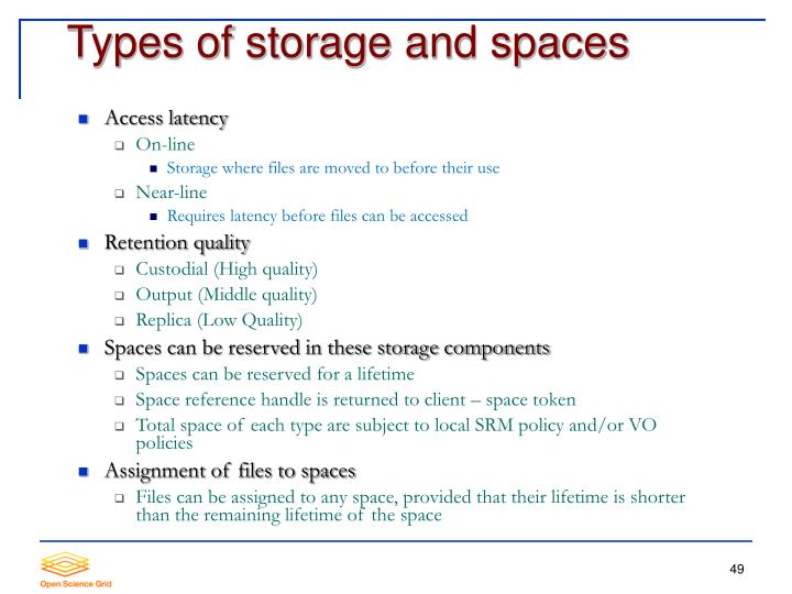 Types of storage and spaces