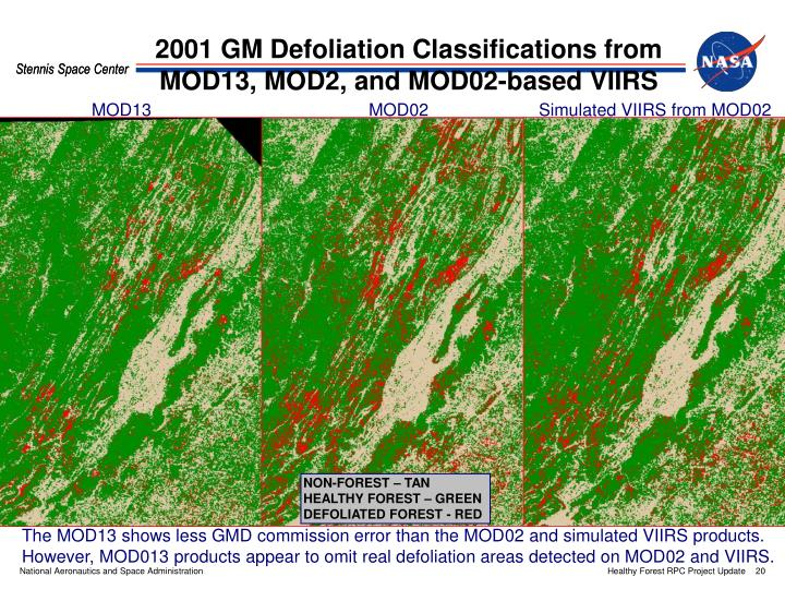 2001 GM Defoliation Classifications from MOD13, MOD2, and MOD02-based VIIRS