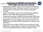 comments on modis and simulated viirs gmd classification results