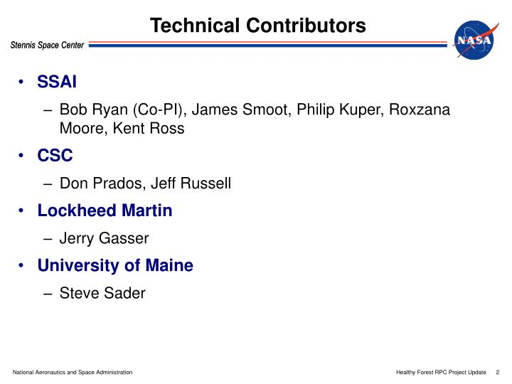Technical contributors