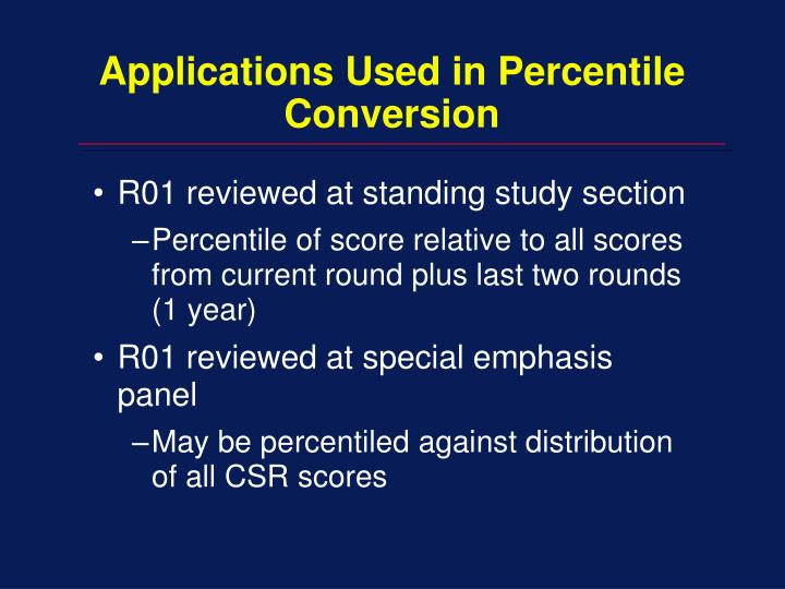 Applications Used in Percentile Conversion