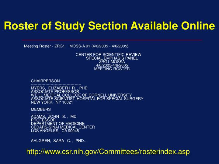 Roster of Study Section Available Online