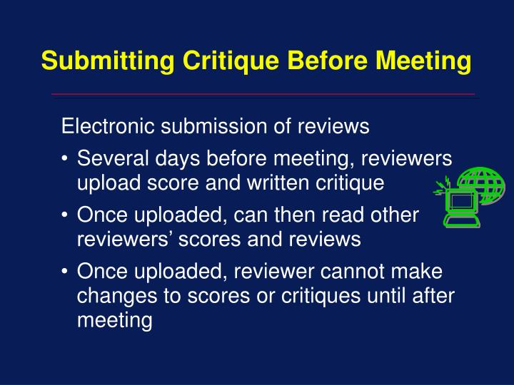 Submitting Critique Before Meeting