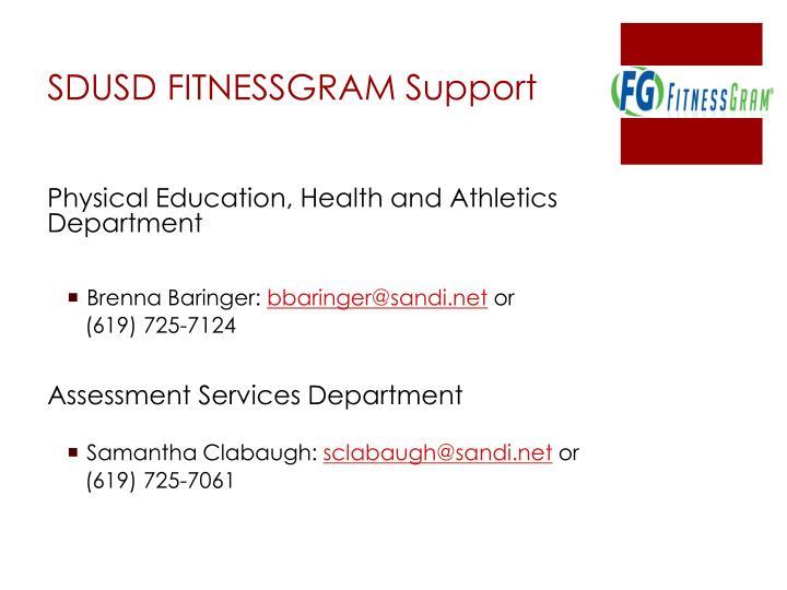 SDUSD FITNESSGRAM Support