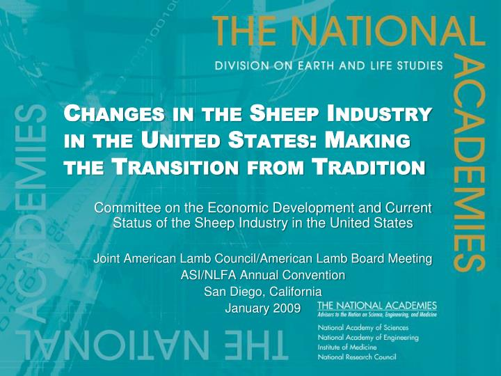 Changes in the Sheep Industry in the United States: Making the Transition from Tradition