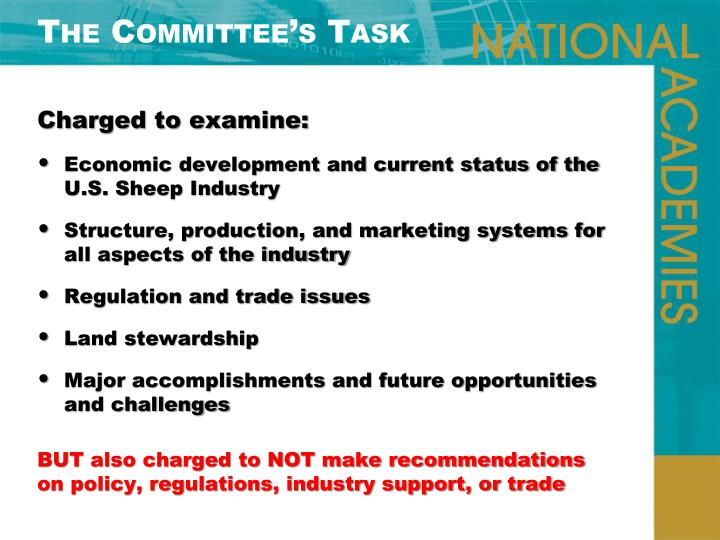 The Committee's Task