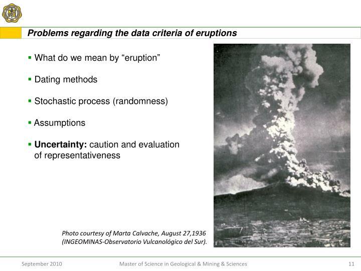 Problems regarding the data criteria of eruptions