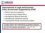 improvements in legal and economic policy environment supported by star
