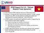 star support for u s vietnam bilateral trade agreement
