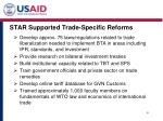 star supported trade specific reforms