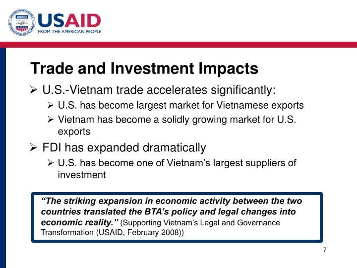 Trade and Investment Impacts