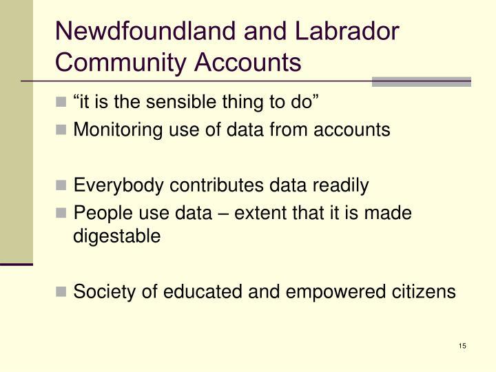 Newdfoundland and Labrador Community Accounts