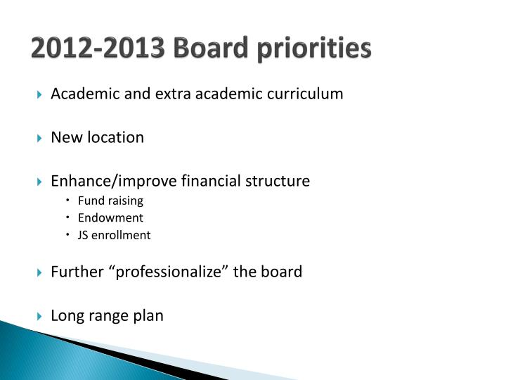 2012-2013 Board priorities