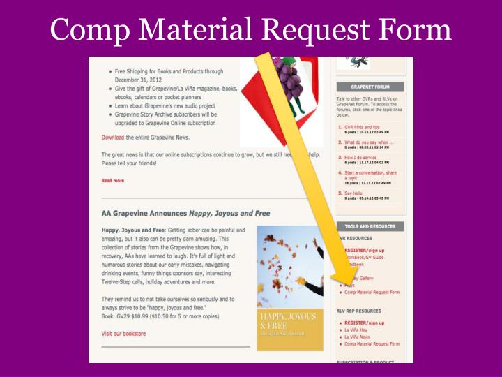 Comp Material Request Form