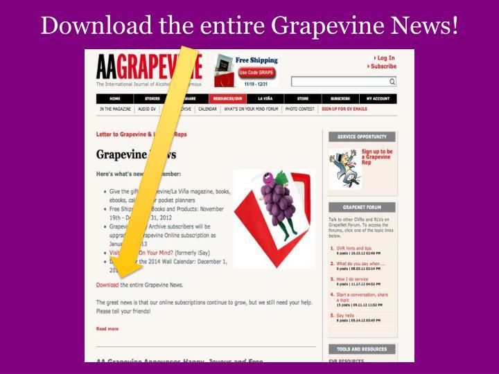 Download the entire Grapevine News!