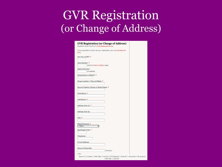 GVR Registration