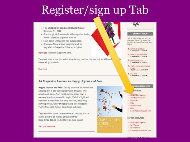 Register/sign up Tab