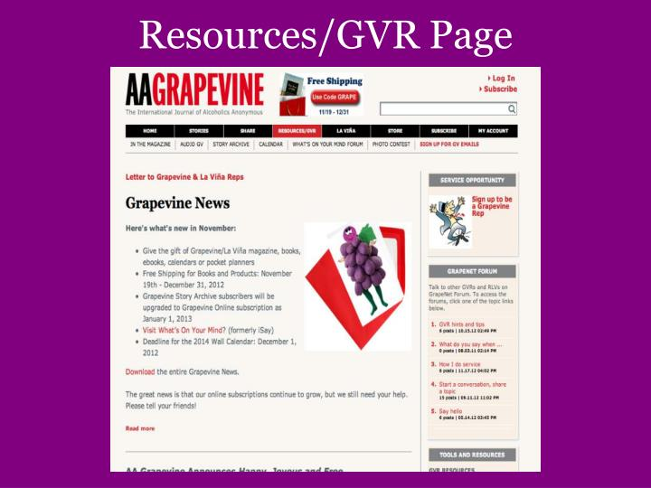 Resources/GVR Page