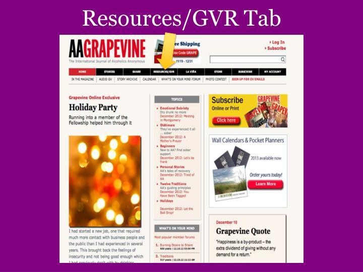Resources/GVR Tab