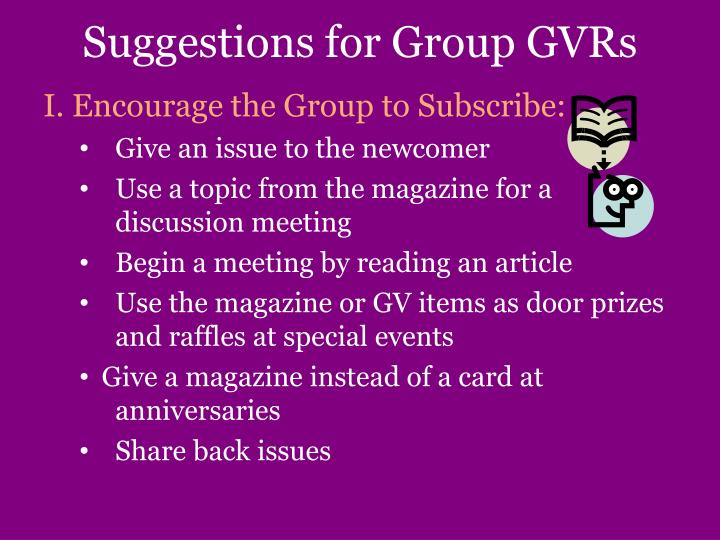 Suggestions for Group