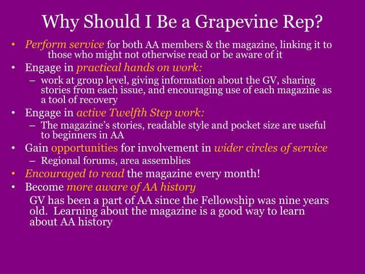 Why Should I Be a Grapevine Rep?