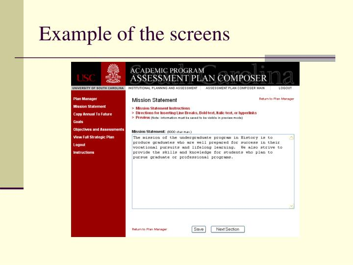 Example of the screens