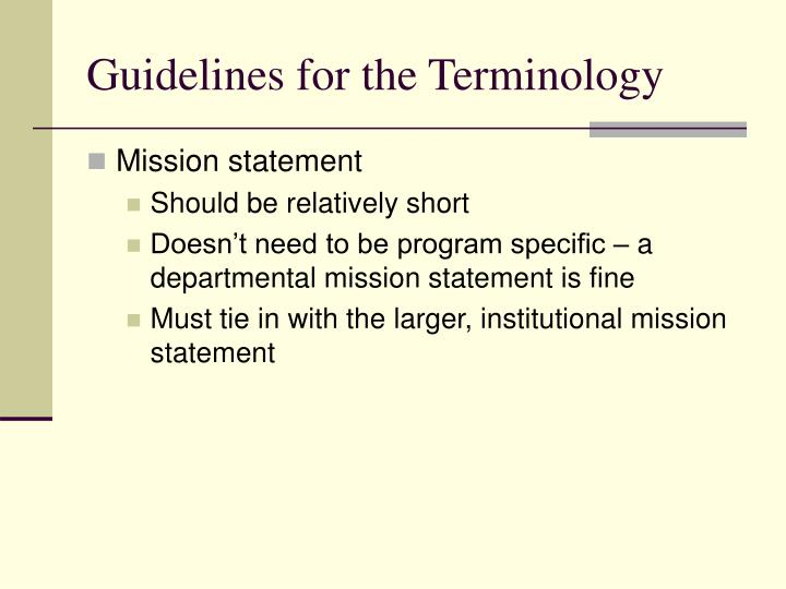 Guidelines for the Terminology