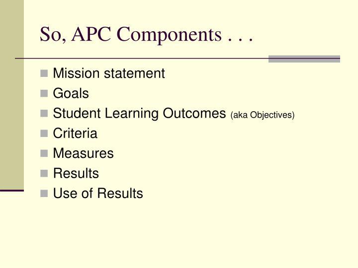 So, APC Components . . .