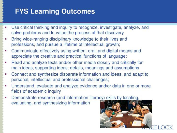 FYS Learning Outcomes