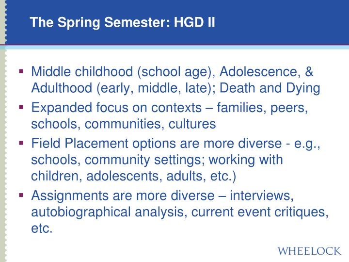 The Spring Semester: HGD II