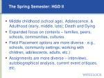the spring semester hgd ii